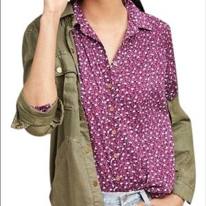 Maeve by Anthro Floral Calico Button Down Shirt